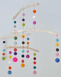 Felt Ball Mobile | 10 DIY Baby Mobiles - Tinyme Blog