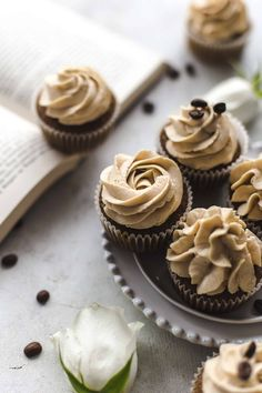 Super soft and moist Coffee Cupcakes topped with ultra creamy Coffee Mascarpone Frosting. Easy to make and a dream for coffee lovers. Coffee Cupcakes by Also The Crumbs Please Coffee Cupcakes, Yummy Cupcakes, Coffe Cake, Cupcake Recipes, Cupcake Cakes, Dessert Recipes, Brownies, Biscuits, Wie Macht Man
