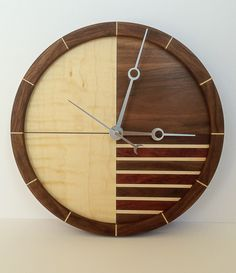 Wooden Clock by WhitesideWoodworking on Etsy https://www.etsy.com/listing/224411444/wooden-clock
