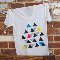 Organic cotton Tee for Men. Hand Painted Neon Triangles. $44.00.