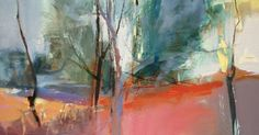 This oil on canvas features abstracted tree forms with poetic color relationships.   Large shapes are contrasted with delicate te...