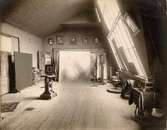 West end of operating room. Property of the Indiana Historical Society. Victorian Photography, Industrial Photography, Vintage Photography, Photographers Office, Camera Techniques, Wet Plate Collodion, Garage Studio, Studio Interior, Aesthetic Design