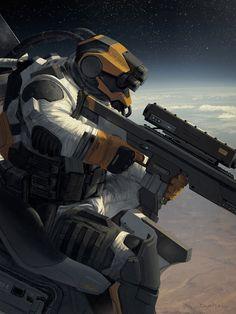 Sci-fi Art Geoffroy Thoorens Orbital Sniper