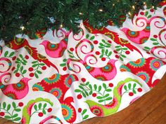 Christmas Tree Skirt with Birds Bright Tree by KaysGeneralStore