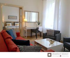 Decorating project for Airbnb apartment in Prague, Czech Republic #livingroom #orange #sofa #mirror #airbnb #praha #czechrepublic #czech