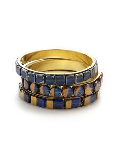 Set of 3 Dark Blue Stone Bangle Bracelets by Chamak by Priya Kakkar at Gilt