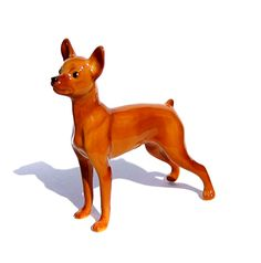 toy Terrier Porcelain Big size realistic  figurine  Art Collectibles brown  color  High-quality,  + Video by GlassFigurinesStudio on Etsy