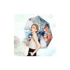 LYZA Hand-painted 3 Folds Rain Umbrella Sun Umbrella Foldable... (€13) ❤ liked on Polyvore featuring accessories, umbrellas, white, wind resistant umbrella, white umbrella, folding umbrella and print umbrella
