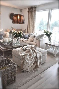 Gray washed baskets and coffee table display   Sweet Home (2015)