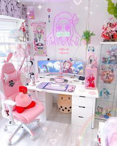 Cute Diy Room Decor, Cute Room Ideas, Room Design Bedroom, Girl Bedroom Designs, Fairytale Room, Gaming Room Setup, Pc Setup, Otaku Room, Kawaii Room