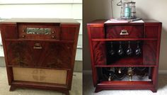 Wine Storage w/Marble Top Server Re-purposed from a 1948 Philco Model 48-1282 Radio/Phonograph Mahogany hardwoods with rare Crotch Mahogany veneers accent the cabinet front and sides.