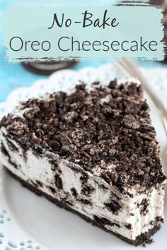 No-bake desserts are a wonderful and easy treat any time. You don't even have to heat your oven! This easy No-Bake Oreo Cheesecake has an Oreo crust and yummy filling that is full of Oreos. The hardest part of this dessert . waiting for it to chill in Oreo Cheesecake Recipes, Easy No Bake Cheesecake, Oreo Desserts, No Bake Desserts, Delicious Desserts, Cheesecake Bites, No Bake Oreo Cake, Yummy Dessert Recipes, Easy Recipes For Desserts