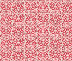 Ikat Damask Red fabric by cottageindustrialist on Spoonflower - custom fabric