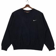 Vintage 90s Nike Crewneck Sweatshirt Embroidery Small Logo Pullover Jumper Nike Streetwear Fashion Large Size Vintage Sweatshirt. by ClockworkThriftStore on Etsy White Nike Sweatshirt, Nike Hoodie, Crew Neck Sweatshirt, Pullover, Nike Sweatshirts, Hoodies, Black And White Nikes, Vintage Nike, Streetwear Fashion