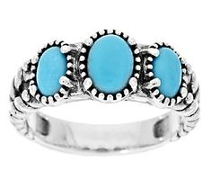 Three Sleeping Beauty turquoise cabochons are bezel set in serrated sterling silver atop this ring. Page 1 Turquoise Jewelry, Turquoise Bracelet, 3 Stone Rings, Southwest Jewelry, Sleeping Beauty Turquoise, Silver Engagement Rings, Silver Drop Earrings, Earrings Uk, Expensive Jewelry