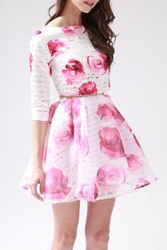 Rose Print Ball Dress