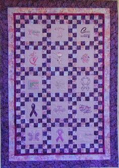 Breast Cancer fundraiser quilt, quilted by Moonbear Designs and Quilting and made by Embroidery Club members at Cathy's Honey Run Quilters
