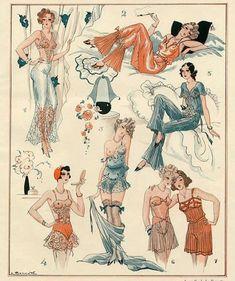 "Vintage Lingerie advertisement from 1931 "" Illustration by Léon Bonnotte "" Vintage Underwear, Vintage Lingerie, 1930s Fashion, Vintage Fashion, Vintage Vogue, Victorian Fashion, Fashion Fashion, Ropa Interior Vintage, Retro Kunst"