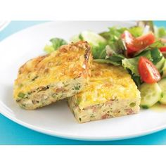 Recipe by The Australian Women's Weekly. This low-calorie zucchini slice combines all the good ingredients: bacon, zucchini, onion, cheese, eggs and flour.