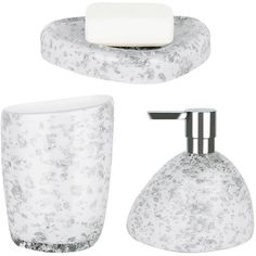 Spirella Etna Set Of 3 Glitter White Bathroom Accessories (64 NZD) ❤ liked on Polyvore featuring home, bed & bath, bath, bath accessories, glitter bathroom accessories, stone bathroom accessories, white soap dispenser, white bath accessories and stone tumbler