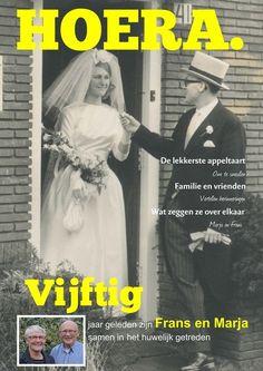 50 jaar getrouwd: maak samen een tijdschrift kado! Do It Yourself Projects, Pictures Images, Indie, Magazine, Lettering, Creative, Gifts, Photography, Wedding
