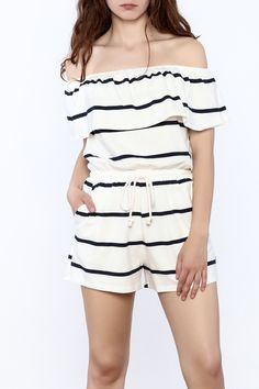 fb7c6a7909fc White and navy stripe print romper with a cinched waist and off-shoulder  short sleeves