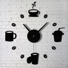 Вы не подскажете, который час, или Тикающая изюминка в интерьере - Ярмарка Мастеров - ручная работа, handmade Coffee Clock, Coffee Cups, Coffee Wall Art, Coffee Time, Tea Cups, Clock Wall, Wall Clock Sticker, Mirror Wall Art, Diy Clock