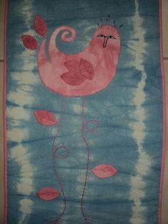"""Birdie long legs""  - Art quilt  Serie ""Los Birdies""  Cosa e´brujas Arte textil"