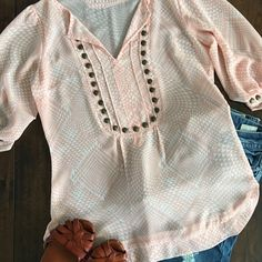 Pink Geometric and Embellished Blouse Such a fun blouse top! Looks great with jeans, skirts, and dress pants! Beautiful pink color and fun embellishments! Great for date nights, special occasions, and work! Angie Tops Blouses