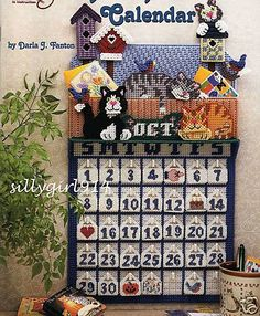 """Cat Calendar"" Plastic Canvas Pattern Book Unique See Pictures   eBay"