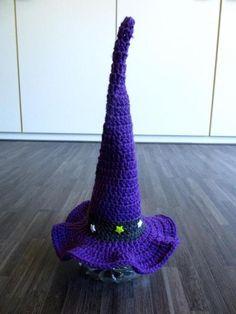 Gehaakte heksen hoed paars (New Born)