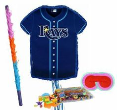 "Tampa Bay Rays Baseball - Shirt Shaped Pull-String Pinata Party Pack Including Pinata, Pinata Candy and Toy Filler, Buster and Blindfold by Pinata. $51.00. Tampa Bay Rays Baseball - Shirt Shaped Pull-String Pinata measures 20"" high x 17.5"" wide x 2.75"" deep. Includes approximately 2 pounds of Candy and Toys. Caution: not recommended for children under 3 years of age. Includes one hard Plastic Pinata Buster that measures approximately 30"". Caution: use only under adult supe... Pinata Candy, Tampa Bay Rays Baseball, 10th Birthday Parties, Party Packs, 3 Years, Party Supplies, Toys, Children, 3rd Birthday"