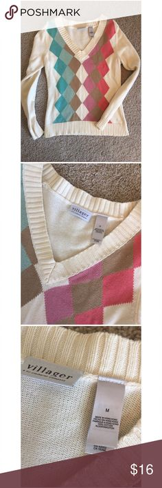 💕Cotton Argyle Sweater Gently used. Excellent condition. 💯 % cotton sweater with beautiful pastel colors. From Villager, a Liz Claiborne company.                                                                                             ✨Top Rated Seller ✨ 💨 Fast Shipping Times 💨 💕Quick Responses 💕 ✅ Great Items ✅ 🛍 Awesome Bundle Deals 🛍 😃Thanks For Visiting! 😃 Villager By Liz Claiborne Sweaters V-Necks