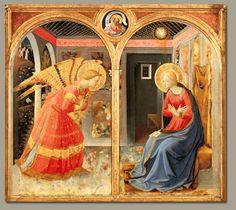 Annunciazione  Pala Montecarlo - Tavola di Beato Angelico (1395-1455) ANNO : 1450 ca. UBICAZIONE : San Giovanni Valdarno (AR), Museo di San Giovanni SECOLO : XV PERIODO : Rinascimento - 1500 d.c.