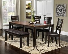 The Krista Collection - Dark Chocolate - Gather Around. Welcoming and warm, the Krista dining room collection is just the thing to bring everyone together. Dining Room Furniture, Dining Bench, Dining Chairs, Ladder Back Chairs, Dinette Sets, Home Projects, Living Room, Tufted Bench, Cherry Finish