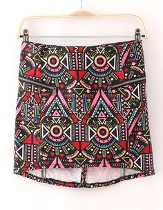 Black Asymmetrical Geometric Print Zipper Skirt - Sheinside.com