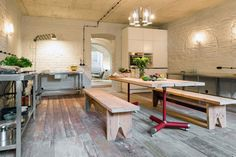 Loft Szczecin, Summer Apartment Near Berlin, vaulted ceiling, a wall of painted brick, the floor in the house of bricks, the reconstruction of the old house photos