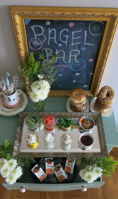 Bagel Bar... Cream cheese, lox, capers, mandoline-sliced veggies, BUTTER