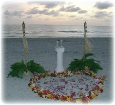 Heart in the Sand wedding alter. Florida Beach Wedding. (www.floridabeachsearemonies.com)