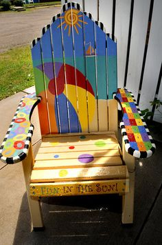 """Description of . A chair titled """"Fun in the Sun"""" by Terri Hedrick is part of the Highway 8 Chairs project. (Pioneer Press: Jean Pieri)"""