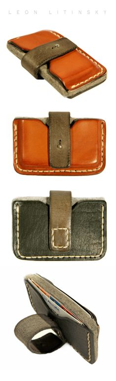 Wool Felt And 3 Colors Of Leather Wallet. Two MXS Compartments.  By Leon Litinsky