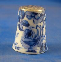 Porcelain China Collectable Thimble Chintz Design Violets Floral with Free Gift Box