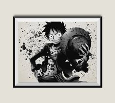 One Piece Monkey D Luffy Watercolor Print Archival Art Wall Decor Poster Anime Manga Cartoon Multi Size