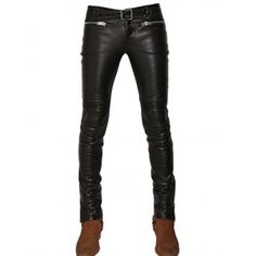 The skin fitted tapered leather pant