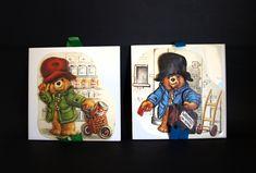 Paddington Bear Ceramic Tile Wall Hangings - Vintage Retro Nursery Kids Bedroom Wall Plaques - Handmade - Michael Bond