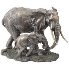 Serengeti Mother & Baby Elephant Sculpture | Objects | Accessories