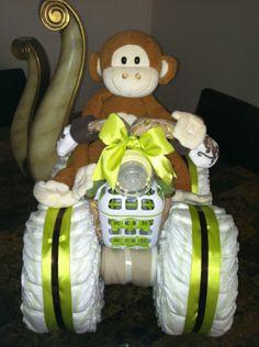 Big Boy Monkey Diaper Quad, Diaper cakes, Diaper creations, Boy Diaper cakes