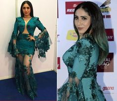 The ninth Mirchi Music Awards took place recently, and quite a lot of Bollywood celebrities graced the event. Emerald Gown, Sophie Choudry, Music Awards 2017, Red Carpet Gowns, White Gowns, Bollywood Celebrities, Straight Hairstyles, New Fashion, Beautiful Dresses