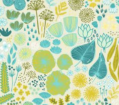 1 yard of Spoonflowers Botanical Garden fabric by designer Friztin. Printed on Organic Cotton Knit, Kona Cotton, Organic Cotton Sateen, Cotton