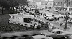 WXYZ's Fred Wolf broadcasting 'live' during a mobile remote in Detroit in 1955 Detroit History, Local History, Detroit Neighborhoods, Detroit Michigan, Metro Detroit, Old Time Radio, Vintage Travel Trailers, Great Lakes, The Good Old Days